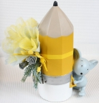 Article baptême fantaisie en céramique: souris et crayon