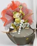Article baptême fantaisie : grenouille sur parapluie