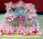 Présentoir et montage : dragées, tules et bébés roses